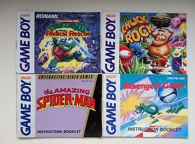Turles Radical Rescue - Revenge Gator - Chuck Rock - Spiderman -Game Boy Gameboy