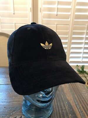 04bec9a5564e2 Adidas Originals Black and Gold Trefoil Relaxed Strap Back Dad Hat OSFA Cap