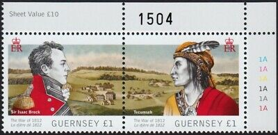 GB_ GUERNSEY - Canada = 2012 Joint Issue = WAR of 1812 = NUMBERED Se-tenant Pair