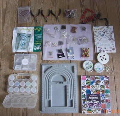 Bead board kit with tools ,selection of beads, bead string, fastings and book