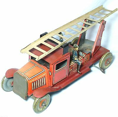 RARE C1920s-30s TIN PLATE TOY FIRE ENGINE WELLS ENGLAND CLOCKWORK WIND UP