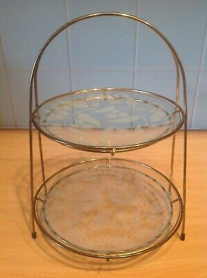 Mid Century Vintage Chance Glass 'Calypto' 2 Tier Cake Stand 50's