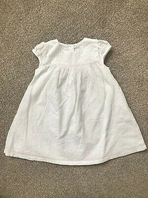 M&S White Crochet Style Dress Cotton Floral Pattern Baby Girl 12-18 Months