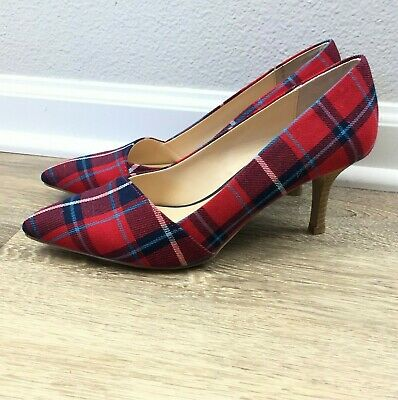 d264c441857 Sole Society Women s Heels Size 9 Angelica Pointed Toe Pump NWOT Red Plaid  Blue