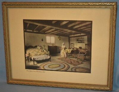 Vintage Unsigned Wallace Nutting Interior Tinted Picture Framed Grandpa's Bed