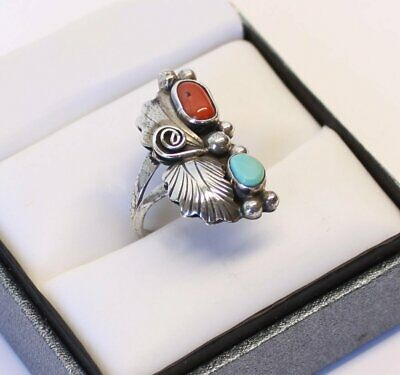 Old Pawn Navajo Turquoise & Coral Ladies Sterling Silver Ring Fred Harvey Era
