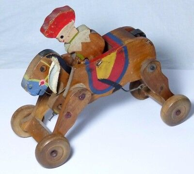 V.rare Old Antique Wooden Pre-War Clockwork Horse Toy Wind-Up Toy 1930S Chad?