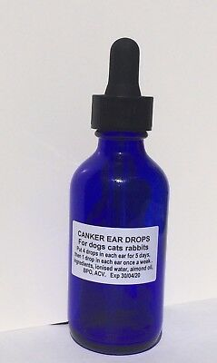 Canker Ear Drops for Dogs kills ear mites & bacterial yeast infections 60ml