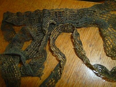 Antique Victorian Metal upholstery ribbon trim furnishing rare 1.4 m long