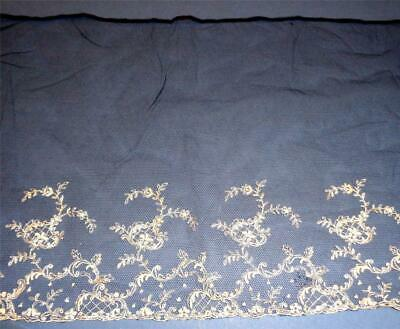 """VICTORIAN EMBROIDERED LACE FLOUNCE HAND MADE 58"""" x 10.5""""    03"""