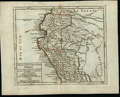 Peru Audience de Quito South America c.1780 Vaugondy engraved hand color map