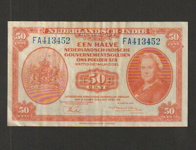1943 P110a Old 50 Cent Note FINE//VF Netherlands Indies
