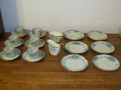 Antique Z.S.&C Bavaria Porcelain 20 Piece Hand Painted Signed Blue Forget Me Not