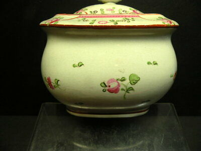 2pc antique victorian ca1860 hand painted rose staffordshire china sugar bowl