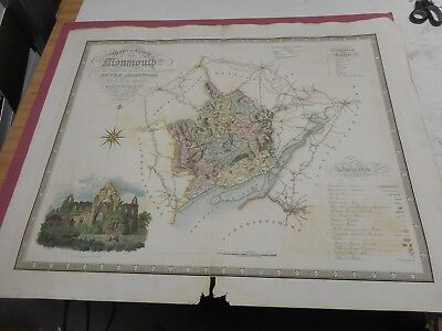 100% Original Large Monmouthshire Map By Greenwood C1834 Hand Coloured