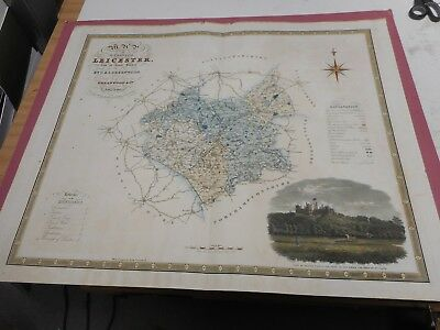 100% Original Large Leicestershire Map By Greenwood C1834 Hand Coloured