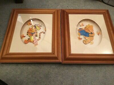 X2 3D Decoupage Pictures of Winnie the Pooh & Tigger in a pine frame