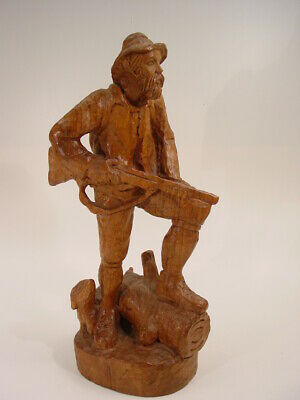 "old 14.5"" BLACK FOREST wood HUNTER with DACHSHUND german master carving figure"