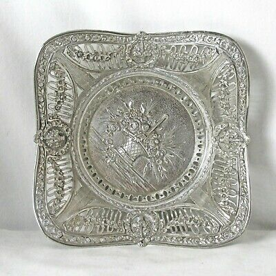 Exceptional Repousse Silver Plated Bowl Floral Motif Victorian Piece