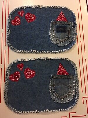 Set Of 2 Denim Jeans Red Bandana Placemats Homemade Western