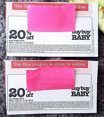 2 x BuyBuy Baby Coupons! Exp. 04/15/19 Online or in Store! 20% off Single Item!
