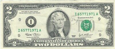 USA: $2.00 Banknote: I 65771971 A in used fine conditions, 2 scans.