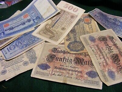 Lot of 23 Genuine Very Old German Banknotes:.from 1910 to 1923,