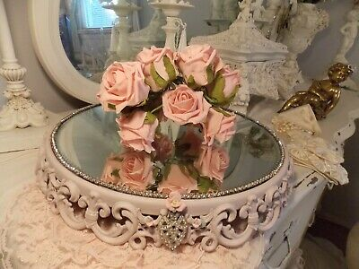 Antique Vintage French Victorian Mirrored Jeweled Plateau  Dresser Perfume Tray
