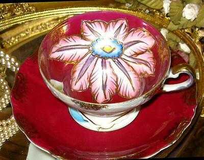 Royal Sealy China Lusterware Red Pink Floral Raised Gold Tea Cup and Saucer