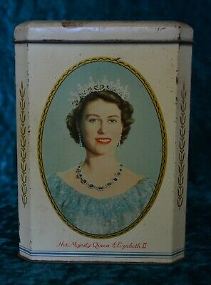 Vintage Souvenir Coronation Tin, Queen Elizabeth II Tea Sweets Kitchen Canister