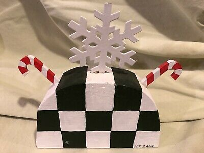 Nancy Thomas Wood Christmas Snowflake Candy Cane Table Sitter
