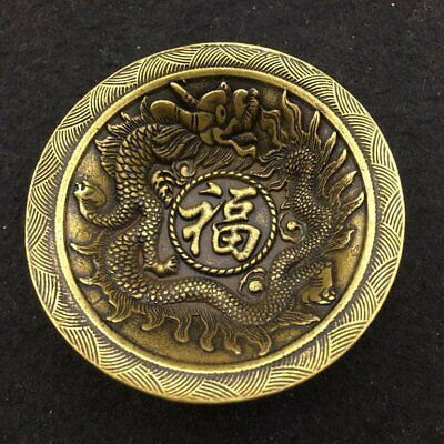 Decoration Old Chinese brass hand-carved fine fengshui Dragon Bowl FO FU