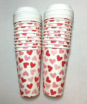 20 Pack 16 Oz Heart Poly Paper Disposable Hot Tea Coffee Cups w Flat White Lids