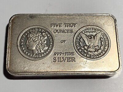 South East Refining 5 troy oz .999 Fine Silver Morgan Dollar Bar 1983