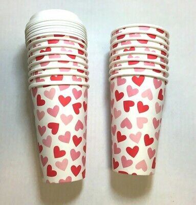 16 - 16 Oz Heart Poly Paper Disposable Hot Tea Coffee Cups w 8 Flat White Lids