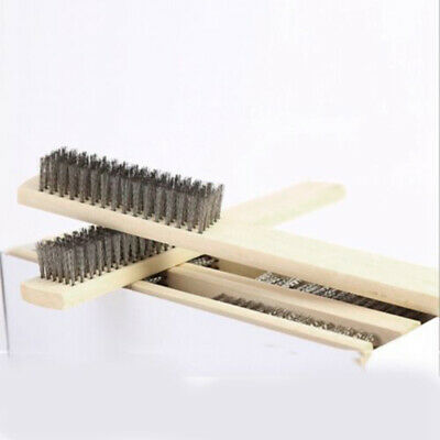 200mm Length Wooden Handle Stainless Steel Scratch Wire Brush 2pcs