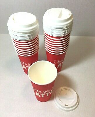 20 - 16 Oz Valentines Poly Paper Disposable Hot Tea Coffee Cups Flat White Lids