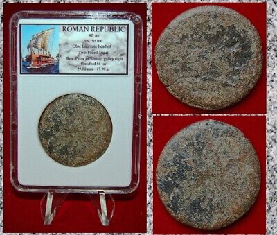 Ancient ROMAN REPUBLIC Bronze Coin Two faced Janus and Galley on Reverse