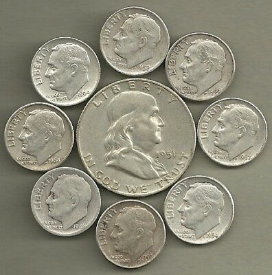 +Franklin Half Dollar & Roosevelt Dimes- 90% Silver- US Coin Lot- 9 Coins #4033