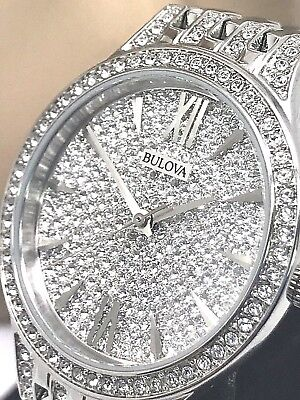 Bulova Crystal Accent 96L243 Women's Watch Quartz Stainless Steel Silver Tone