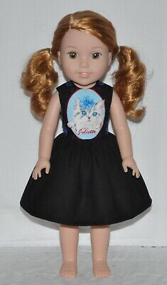 Black Juliette Cat Doll Dress Clothes Fits American Girl Wellie Wisher Dolls