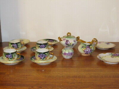 Antique European Porcelain 15 Piece Hand Painted Signed Purple Violet Flowers