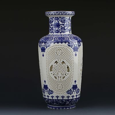 Chinese White & Blue Porcelain Hand Painted & Hollow Carved Vase W Qianlong Mark