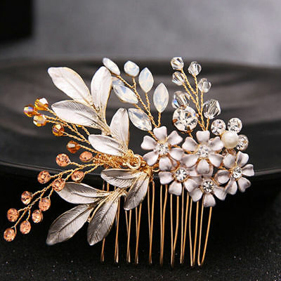 Gold Floral Wedding Bridal Hair Accessories Hair Comb Piece Pin Leaf Bling Bride