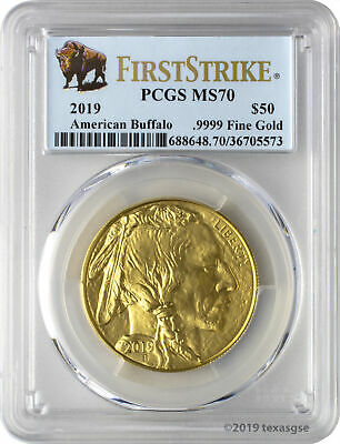 2019 $50 American Gold Buffalo PCGS MS70 First Strike - Bison Label