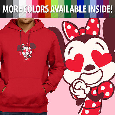 Disney Minnie Mouse Heart Eyes Love Cute Cozy Unisex Pullover Hoodie Sweater Top