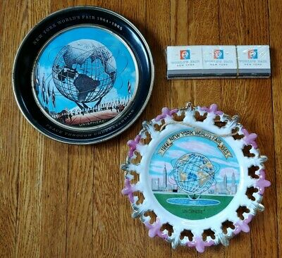 Vintage Lot 1964-65 New York World's Fair Unisphere Plate Tray & Matches