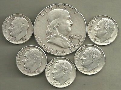Franklin Half Dollar & Roosevelt Dimes- 90% Silver- US Coin Lot - 6 Coins #3941