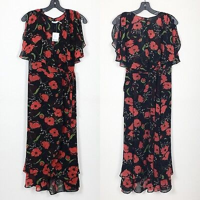 c7aa5fa55d7 Kimchi Blue Urban Outfitters Size M Medium Black Red Floral Wrap Dress NWT