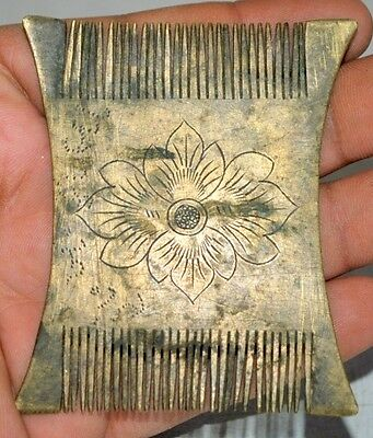 Original Old Antique Brass Hand Carved Floral Islamic Hair Comb Rare 1850's